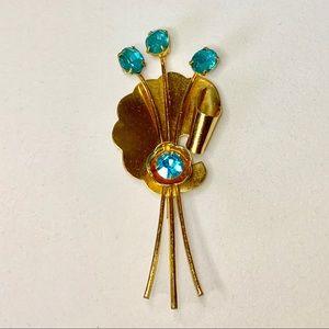 1940s Coro Gold & Blue Topaz Floral Brooch Estate